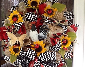 Rooster wreath, spring wreath, deco mesh rooster wreath