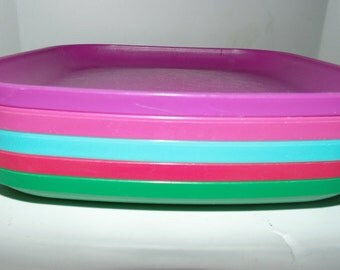 "Vintage Tupperware #1534 Square STACKABLE Luncheon PLATES 8"" SET of 5 multi-colored"