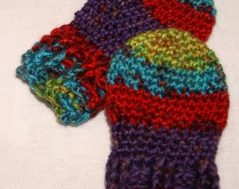 Crochet Thumbless Mittens - Size 3 to 6 month - Rainbow Baby Mittens - Infant Scratchless Mitts - Baby Accessory