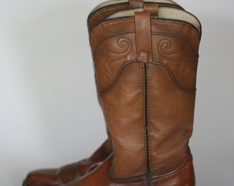 vintage acme brown leather boots womens size 8B