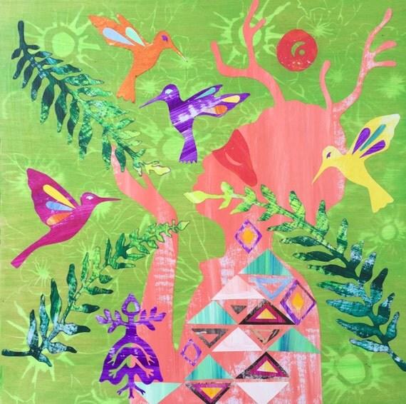 Art Painting Collage Native American Folk Art Woman Deer Horns Hummingbird Green Red