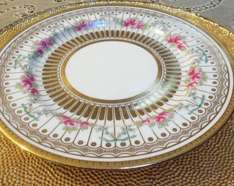 12 Antique Wedgewood Dinner Plates/Pink Roses/Circa 1800s/ Gold Lines and Dots/Dinner Party/Wedding Gift/Gold Back Rim/ Fine China