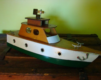 SALE!! Huge Handmade Boat , Wheeler Express Wooden Boat Model, Nautical Decor , Beach House