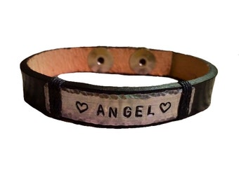 Customized Leather Handstamped Bracelet