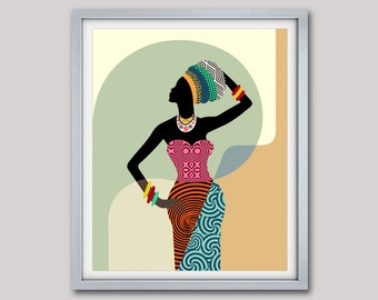 African Woman,  African Wall Art,  African Wall Decor, Black Woman, African Print, South African Art , African Designs