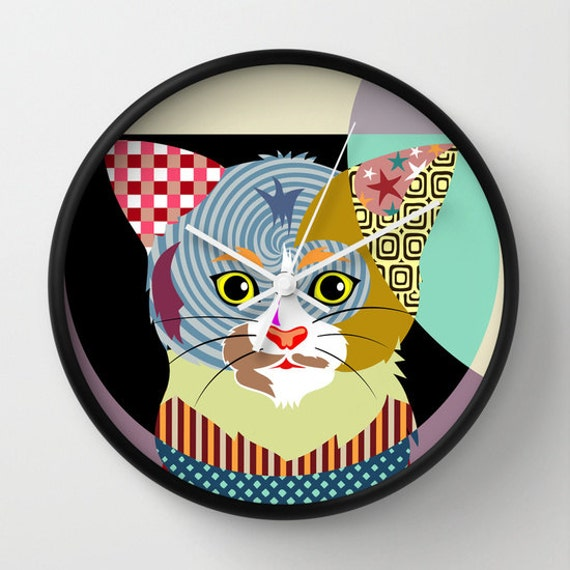 cat clock cat home decor cat wall hanging cat wall decor
