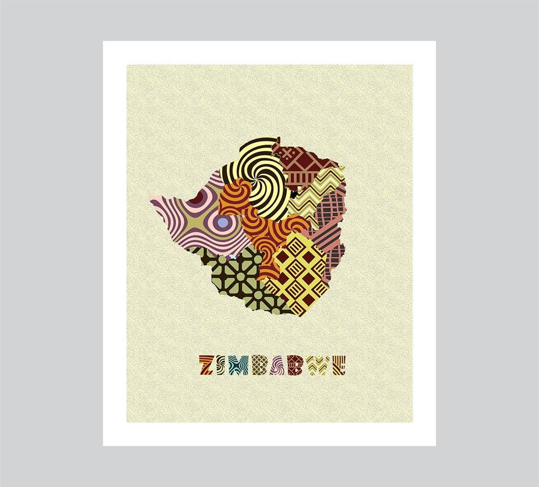 Zimbabwe Map Art Print Zimbabwe Wall Art Decor By Iqstudio