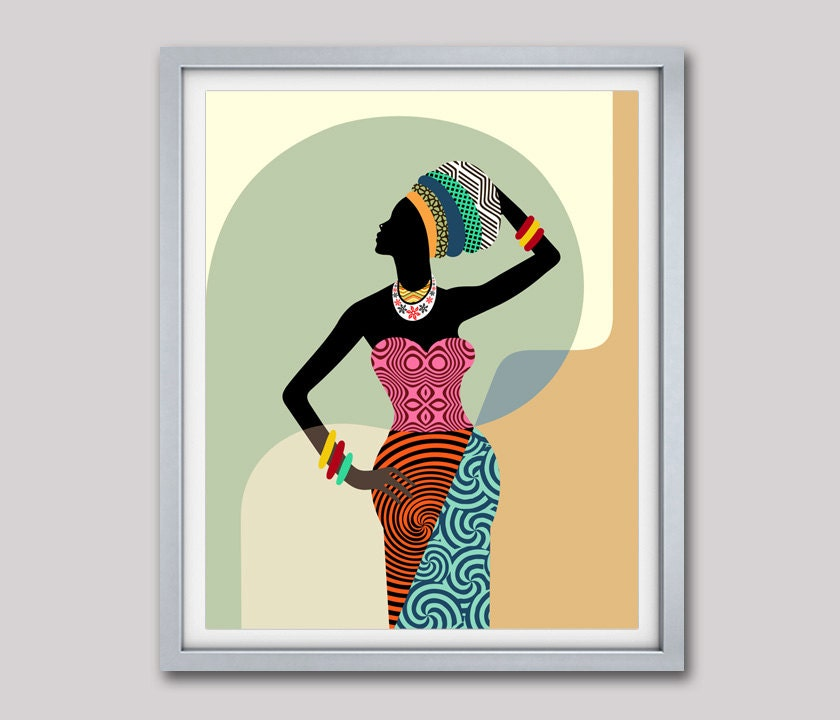 African woman african wall art african wall decor black for African wall mural