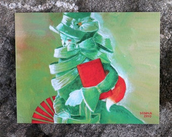 5 x postcard pack / postcards / cards / multipack / fox / green / woman / christmas cards / gift cards / small gift / art gift / postcard