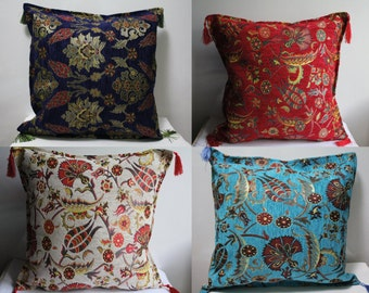 Turkish Pillow Cover, Tile Pillow Cover,Mosaic Pillow Case, Carnation Pillow Case,Tulip Pillow Cover, Palace Decor