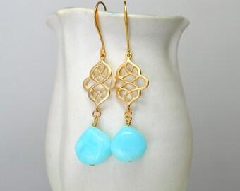 Peruvian blue opal earrings Endless knot Aqua teardrop earrings Swirl earrings Gold filigree earrings Dangle earrings Summer beach jewelry