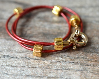 Red leather wrap around bracelet Contemporary gold bead leather wrap bracelet Urban chic office jewelry for women
