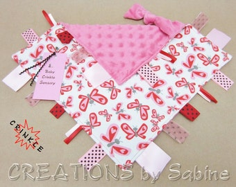 Baby Tag Blanket Crinkle Toy Pink Sensory Ribbon Lovie Blankie Sensory Butterflies Hearts Teething Teether White Shower READY TO SHIP (264)