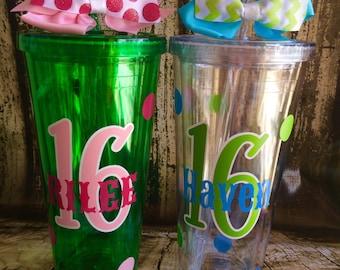 Personalized Sweet sixteen tumbler,Birthday gift,Sweet 16 gift,milestone gift,21st birthday,30th Birthday,40th Birthday,20oz Cup w/straw,
