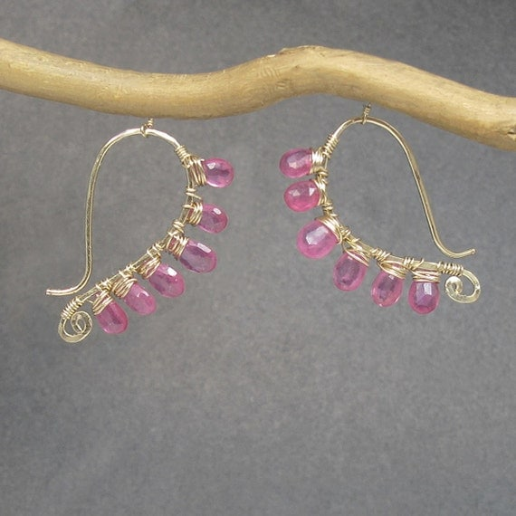 Hammered earrings wrapped with pink ruby Luxe Bijoux 5