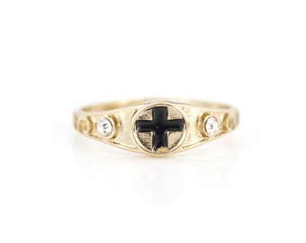 Simple Bright Gold-tone Black Cross Ring,Size 7.5 <B18>