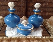 Germany Porcelain Perfume Blue Bottles Antique Vintage with White Cabbage Roses Trinket Dish Mirrored Filigree Vanity Tray