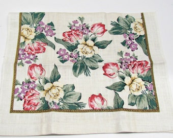3 NOS Linen Towels, Tulips Roses Violets, Shades of Cream, Pink Red Green Purple Gold, Kitchen Linens, New From Old Stock