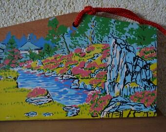 Japanese ema, hand painted  or screen printed wood #21