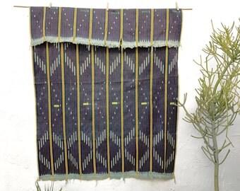 Vintage African Baule Cloth with Indigo and Yellow Stripes Ivory Coast Indigo Textile Throw African Indigo Hand woven fabric shawl 3
