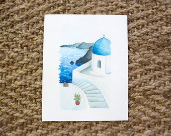 Greece, Watercolor Print, 5x7, 8x10, Wall Art, Nature, Paintings, Gift, Giclee Print