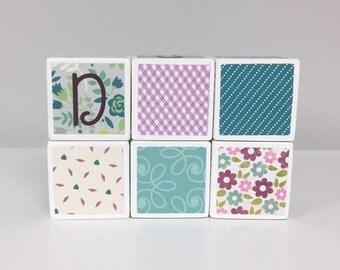 Baby Blocks Personalized - SET OF 6 - Girl - Flowers Purple Green Teal Aqua White