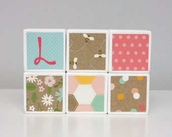 Baby Blocks Personalized - SET OF 6 - Girl - Flowers Bees Garden Turquoise Yellow Pink