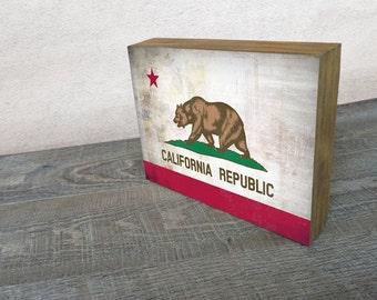 California Flag Art Mounted Print -  Wood Block Wall Decor