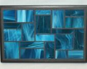 Turquoise glass mosaic trivet