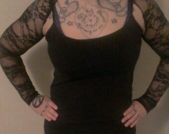 Shrug Stretch Lace wedding bolero arm warmer black --FREE SHIPPING