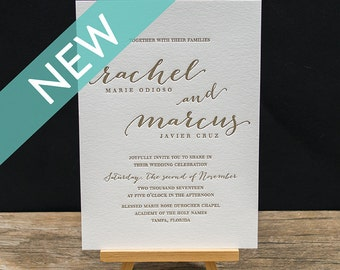 Mae Letterpress Wedding Invitation Suite - DEPOSIT