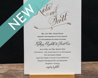 Waverly Letterpress Wedding Invitation Suite - DEPOSIT