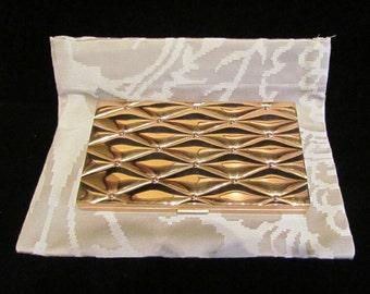 Vintage 1950s Evans Cigarette Case Cigarette Box Business Card Case Mid Century Copper Finish w/Fabric Pouch Mad Men Excellent Condition
