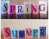 REVERSIBLE!!! Wood Spring blocks / Wood Summer blocks, seasonal home decor - Spring Decor, hello spring, spring blocks, summer blocks
