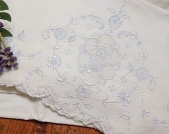 vintage french  pillowcase linen embroidered light blue  cut work shabby chic cottage chic   pillowcase  by hermina's cottage