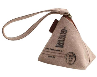 Notions pouch, canvas, zippered. Organize knitting and crochet essentials. European retro style. Leaning Tower of Pisa graphic.