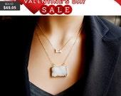 Layering Necklaces Set / White Druzy Necklace, CZ  Necklace, White Rectangle Druzy Pendant, Minimal  Delicate Necklaces, Gift