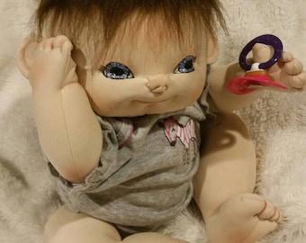 Soft sculpture doll, plush doll, cloth doll, Baby doll, ba y girl doll, sculpted doll, realistic doll