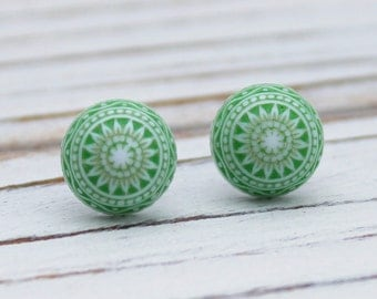 Etched Green post earrings