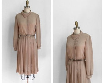 60s Light Brown Belted Day Dress • 1960s Long Sleeve Shift Dress • Pleated Skirt • Medium
