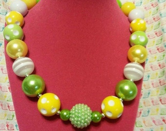 "16"" Lime Green  and Yellow Chunky Bubblegum Beaded Necklace * Ready to Ship*"