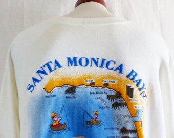vintage 80's Santa Monica Bay Halibut Derby ivory white fleece graphic sweatshirt raglan crewneck back front puffy print logo souvenir XL