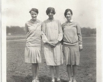 Old Photo 3 Women wearing Dresses 1920s Photograph snapshot Vintage