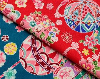 Temari and Flowers / Japanese Design Fabric  - 108cm x 50cm
