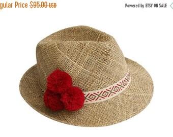 Summer Sale 10% Off Straw Fedora Hat With Pompom , Womens Straw Fedora Hat , Mens Straw Fedora Hat , Sun Hat , Fedora Summer Hat