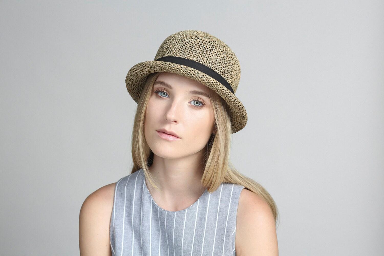womens straw hat small brimmed hat summer hat straw hat