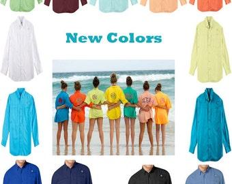 Women's Monogrammed Fishing Shirt  long sleeve Adult sizes Beach coverup