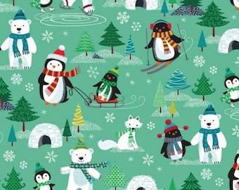 Fat Quarter Frosty Penguins Bears 100% Cotton Quilting Fabric Makower 15811