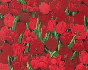 Fat Quarter Red Tulips Cluster 100% Cotton Quilting Fabric - Nutex