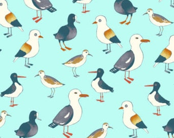 Fat Quarter Seagulls Gulls Water Fowl Birds 100% Cotton Quilting Fabric Blue